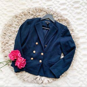 Ann Taylor Navy Nautical Gold Button Blazer